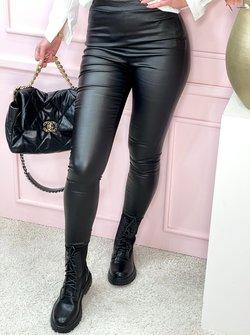 Faux leather pants black