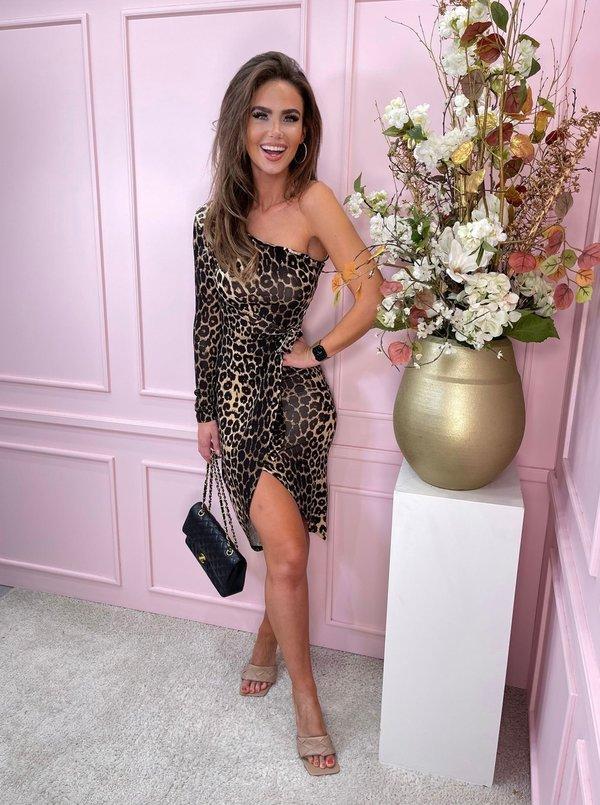 One shoulder dress leopard