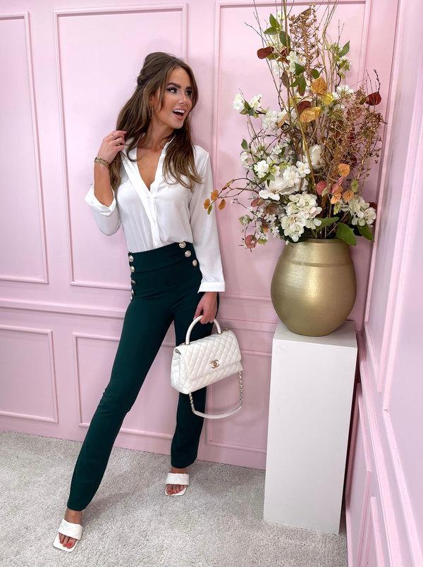 High waisted green button pants
