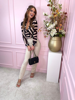 High waisted beige button pants