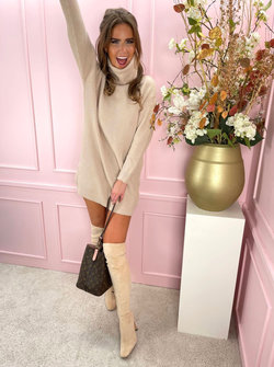 Col sweater dress beige