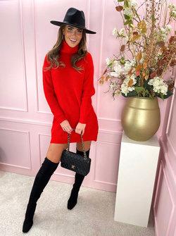 Col sweater dress red