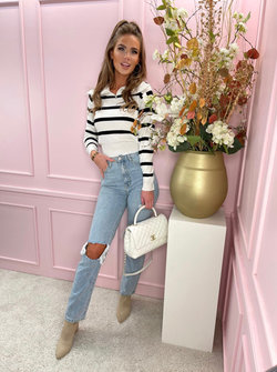 Striped zipper sweater white