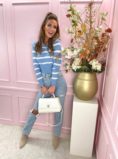 Striped zipper sweater blue