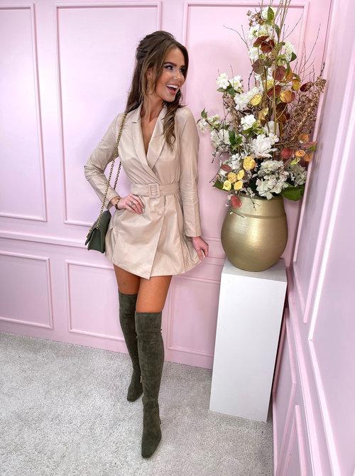 Vegan leather dress beige