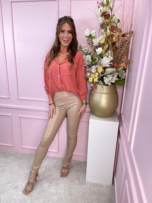 Straight blouse Coral