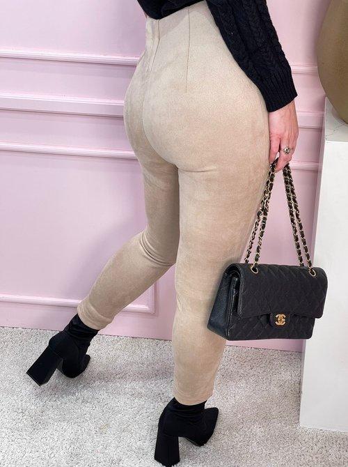 Suede pants light beige