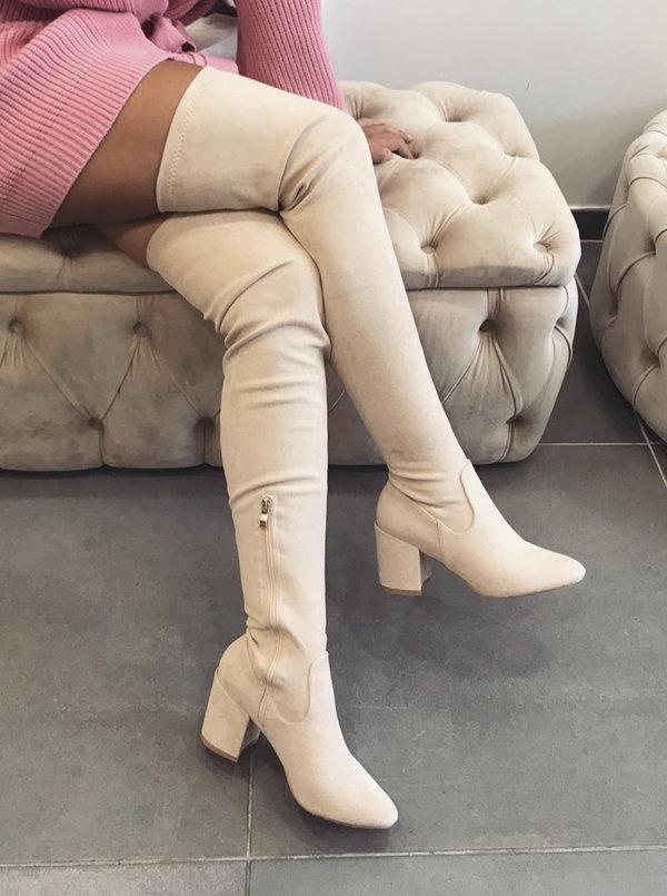 Suede Low Heels Overknee beige