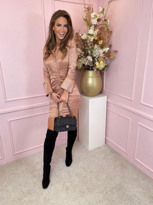 Satin blush leopard dress