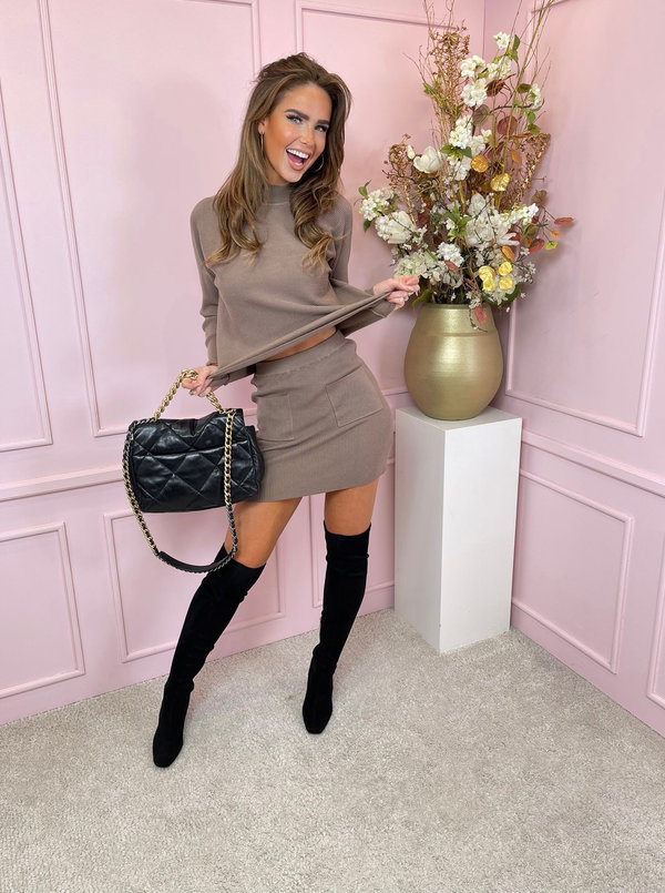 Taupe skirt set