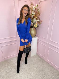 V dress cobalt