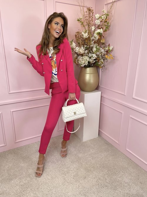 Suit belted pink