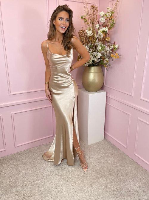 Maxi Satin champagne dress