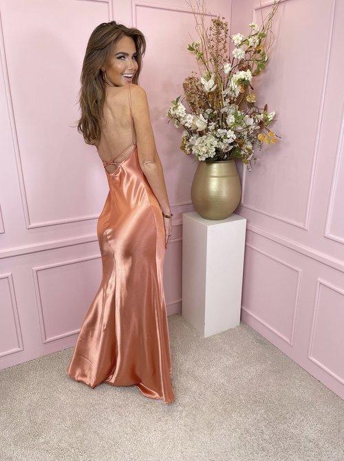 Maxi satin Rosé dress