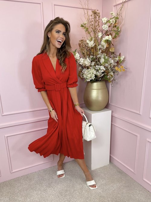 Kelly belted dress red