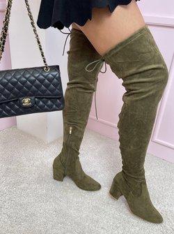 Suede low heels green boots