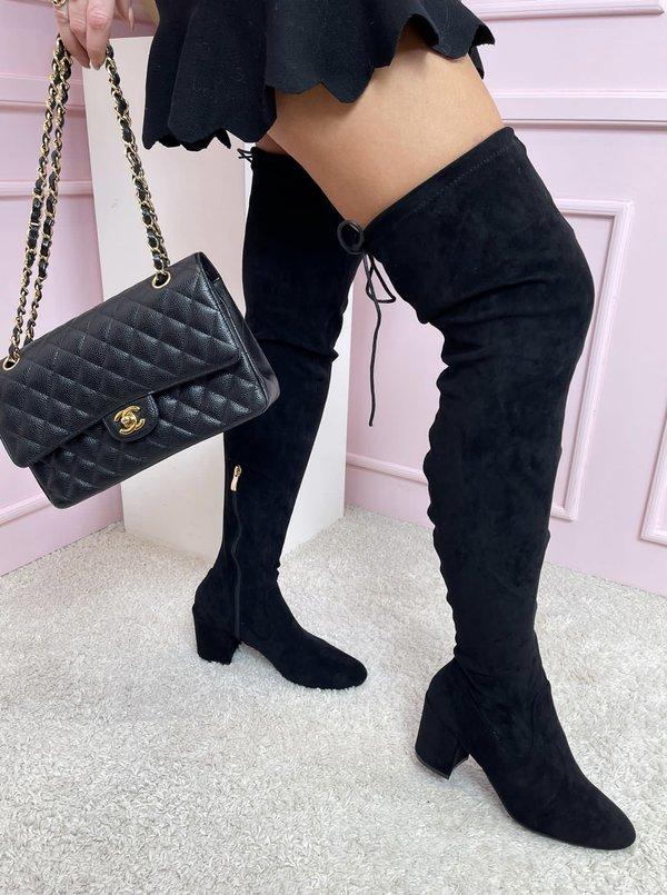 Suede Low Heels Overknee black