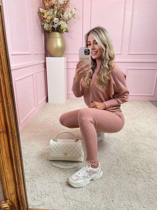 Kayla set rib pink