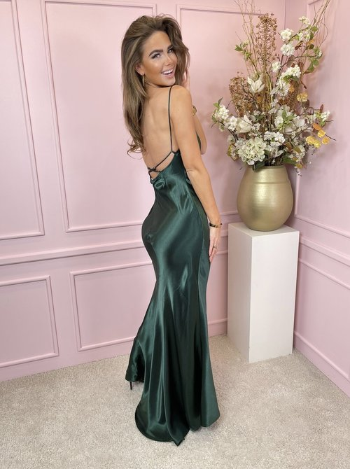 Satin maxi dress green