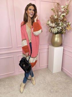 Vest long pink & gold