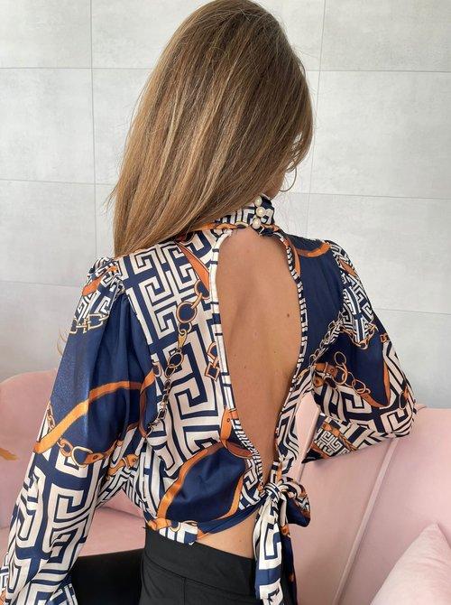 Navy printed satin blouse