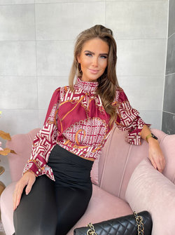 Bordeaux printed satin blouse