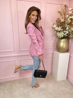 Blazer long tweed pink