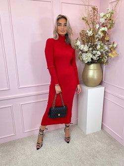 Bodycon col rib dress red