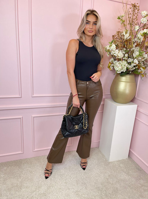 Leather pants flare brown