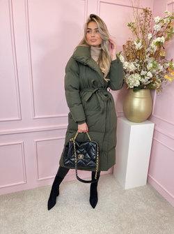 Mara coat puffy green belted