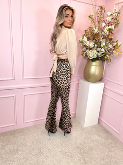 Satin blouse short beige