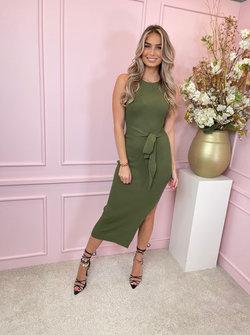 Giorgia bow dress khaki