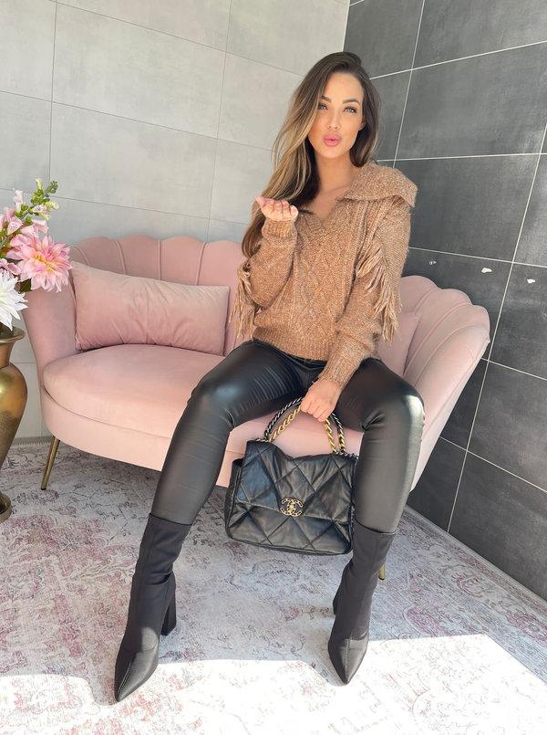 fringe brown sweater