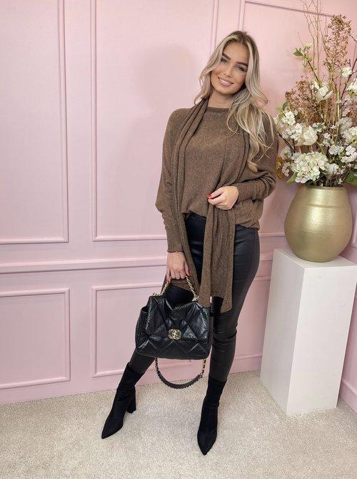Shawl sweater brown