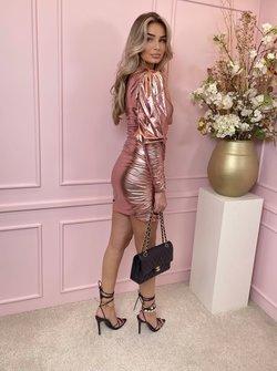 Metallic  one shoulder dress blush