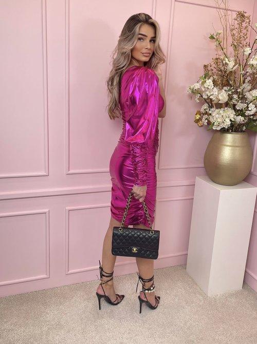 Metallic one shoulder dress fuchsia