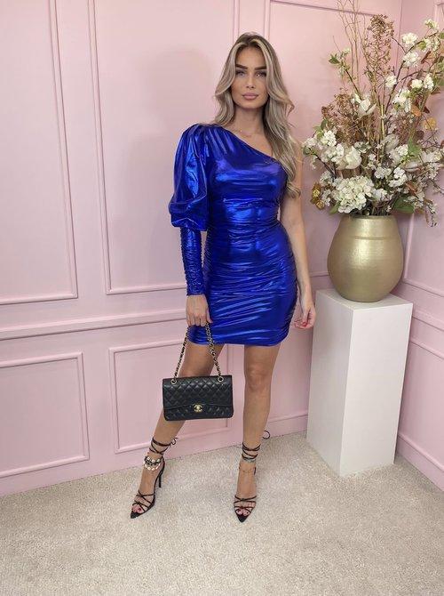 Metallic  one shoulder dress cobalt