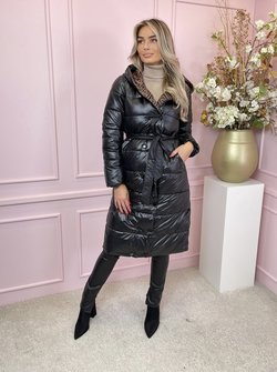 Puffer belted black