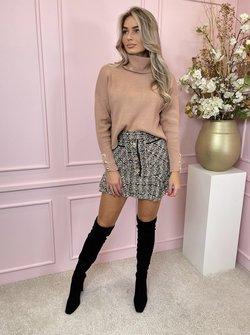 Tweed rufffle skirt beige