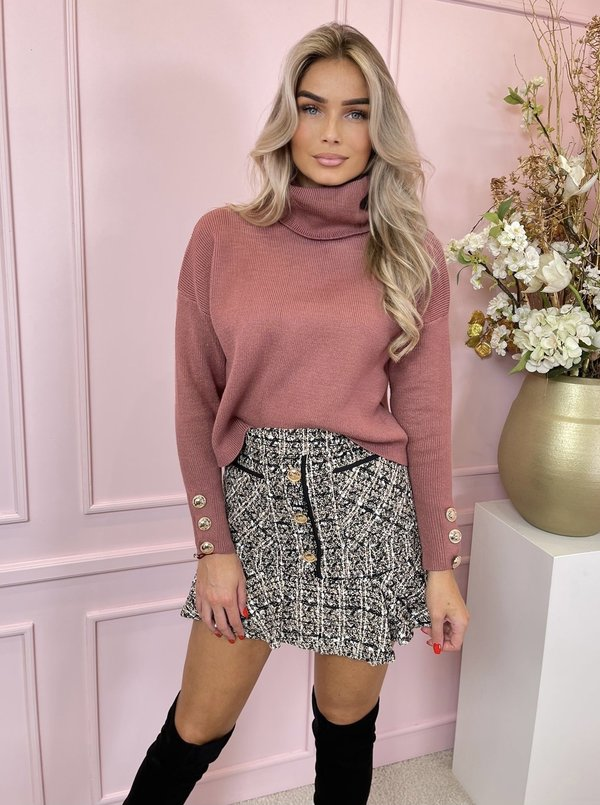 Sarah col sweater dusty pink