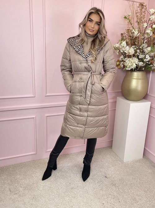 Puffer belted taupe