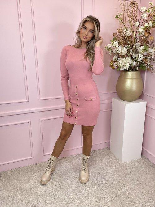 Pink & Gold button dress