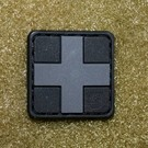 EMT Red cross marker patch small black/grey