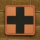 EMT Red cross marker patch large tan