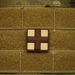 EMT Red cross marker patch small tan