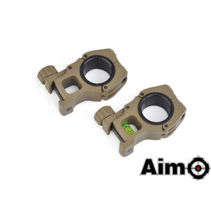 Aim-O M10 1 inch to 30mm Scope Rings With Level DE