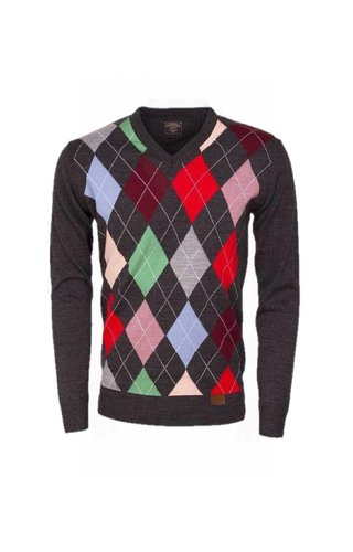 Wam Denim - Sweater with diamond pattern anthracite