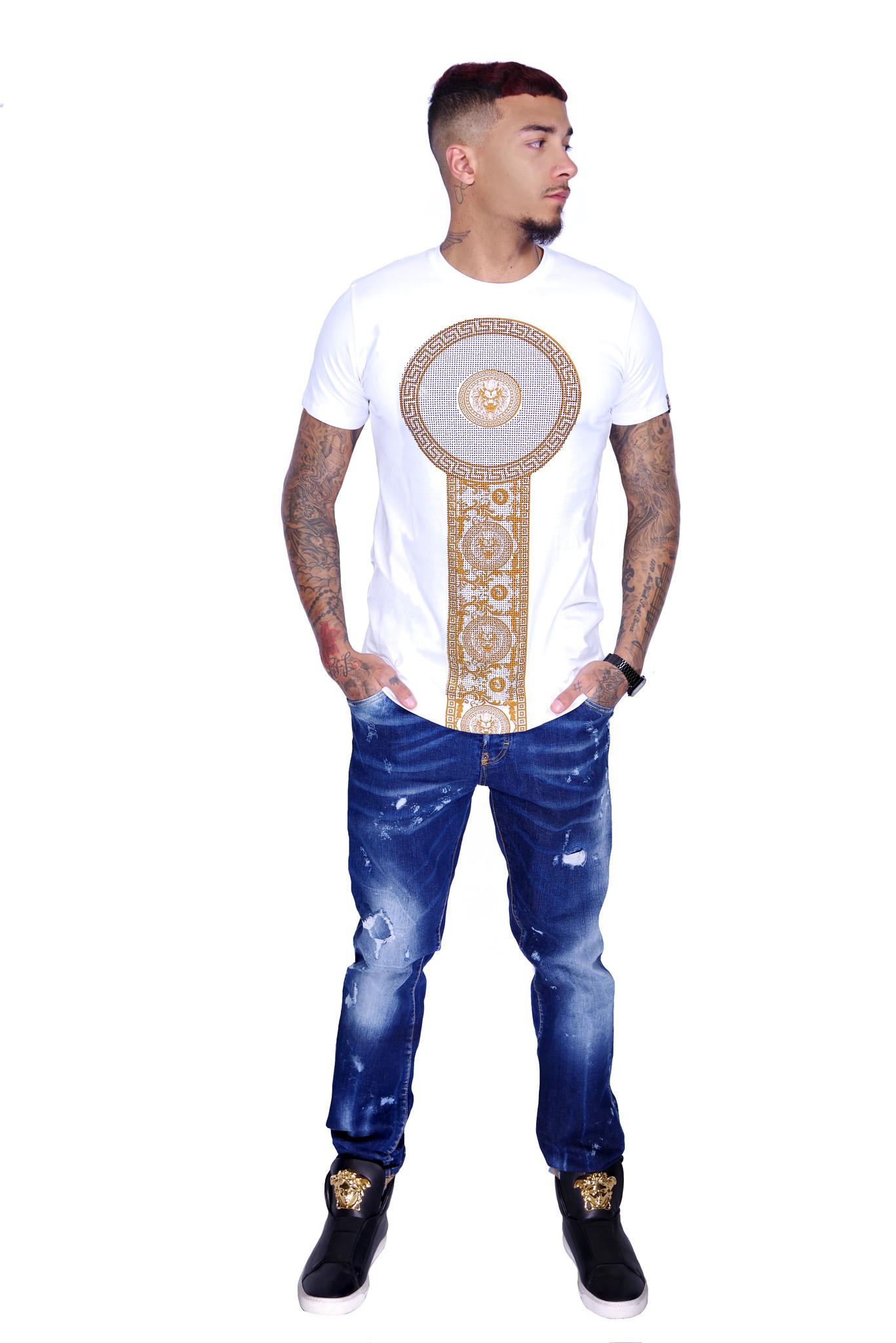 George V T-Shirt 600 White Gold M