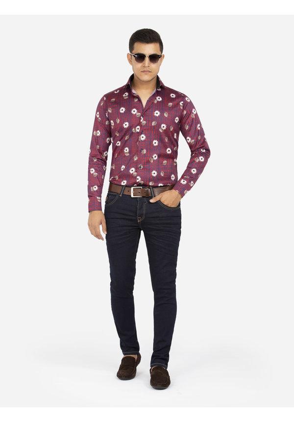 Overhemd Lange Mouw 75635 Dark Red
