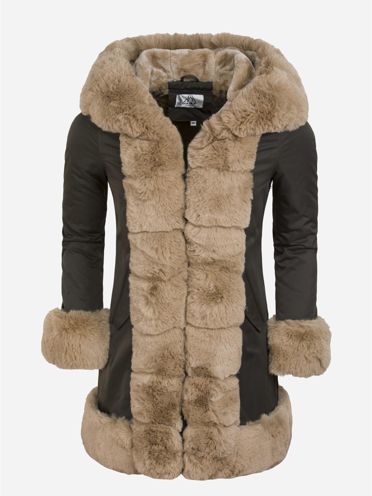 Artika Icewear Winterjas Dames L816-11031 Green Camel Maat: 2XL